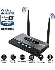 PEMENOL Bluetooth 5.0 Transmitter und Empfänger, 3-in-1 Bluetooth Adapter Audio, NFC Dual Antenne, aptX HD, Geringe Verzögerung, RCA Kable, 3,5 mm AUX, Optisches TOSLINK für Home/TV/Car/Laptop/PC