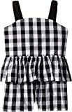 Kate Spade New York Kids Girl's Gingham Romper (Big Kids) Fresh White/Black 14