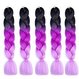 Ombre Jumbo Braiding Hair Extensions 24Inch 5Pcs/Lot 100g/Pcs 100% Japanese Kanekalon Synthetic Fiber Twist Braiding Hair 61CM (#Natural Black to Dark Purple to Light Purple)