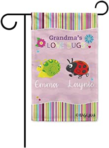 BAGEYOU Grandma's Love Bugs Flowers Spring Summer Decorative Polyester Garden Flag for Outside Put Your Personalized Grandkids Name Two 12.5X18 Inch Print Double Sided