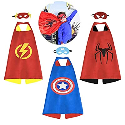 Superhero Cape for Kids, Double-Sided Satin Capes and Mask for Dress Up Costumes (6 Capes): Clothing