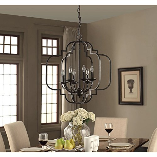 Modern farmhouse chandelier suitable for dining rooms and entryways with high or low ceilings