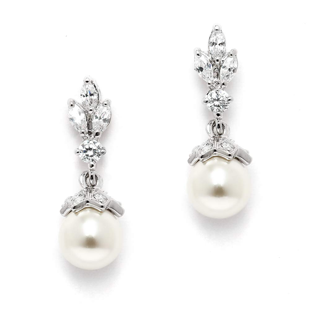 Mariell Light Ivory Pearl Drop Vintage Wedding Earrings with Platinum Plated Cubic Zirconia Marquis by Mariell