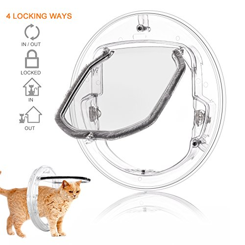 Pet Door for Cats and Small Dogs with 4 Ways Lock, Round Clear Cat Flap Door with Liner Kit Best Fits for Screen Window, Sliding Glass Door, Glass Window, Weather-Resistant & Low (Round Flap)