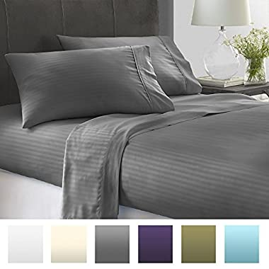 Beckham Hotel Collection® Luxury Embossed Stripe Design 4Pc Bed Sheet Set - Queen - Gray/Stripe