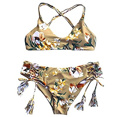 Pengy Women Fresh Style Floral Printed Tie Side Tassel Bikini Swimwear Push-up Padded Bra Bathing Suit Swimsuit