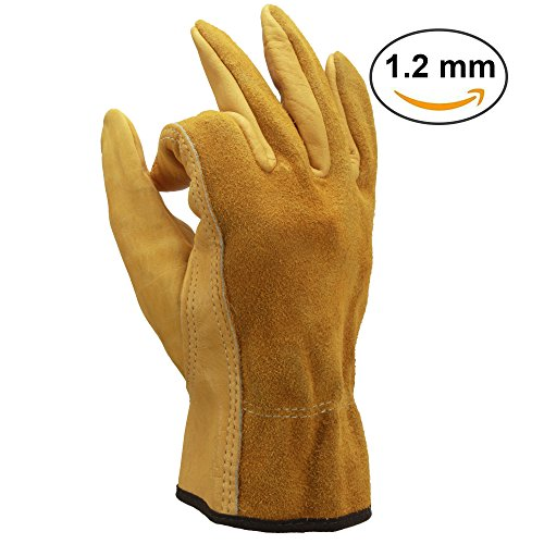 OZERO Leather Work Gloves, Genuine Cowhide Construction Glove with Elastic Wrist for Men & Women - Good Grip & Flexible for Heavy Duty/Truck Driving/Warehouse/Gardening/Farm - Yellow (1 - Mens Warehouse Indianapolis