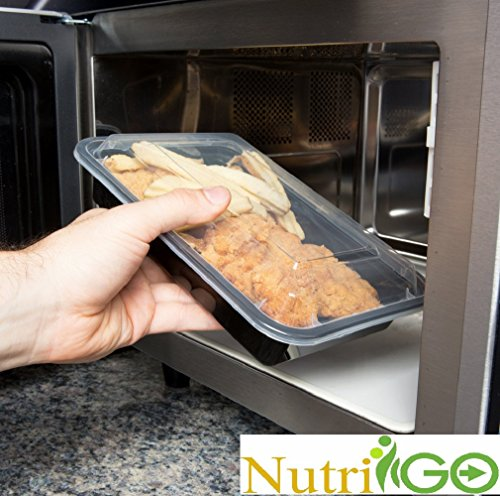 nutrigo compartment microwavable food container with lid divided plate bento box lunch tray. Black Bedroom Furniture Sets. Home Design Ideas