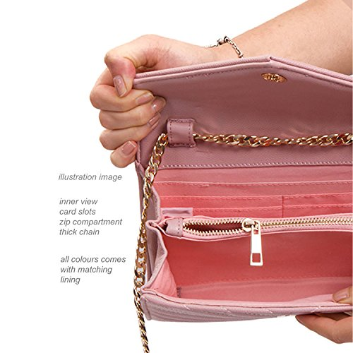Saddle Leather 1 Chain Body Strap Envelope faux Clutch Cross Shoulder Ladies For Wallets Card London Over Bag Quilted Xardi Evening Women Green Small Party In With 2 Flap wzatH