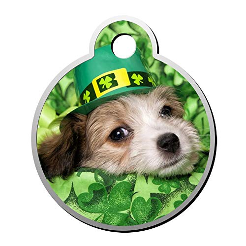 Pendant Nim - Reiligh Pet ID Tag Cute Dog Happy St. Patrick's Day Personalized Round Dog Tags & Cat Tags Identity with Double Sided Printed - DIY Custom