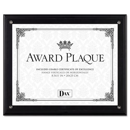 Award Plaque, Wood/Acrylic Frame, fits up to 8-1/2 x 11, Black, Sold as 1 Each