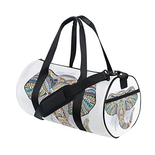 Animal Art Colorful Elephant Lightweight Canvas Sports Bag Duffel Yoga Gym Bags by JIUMEI