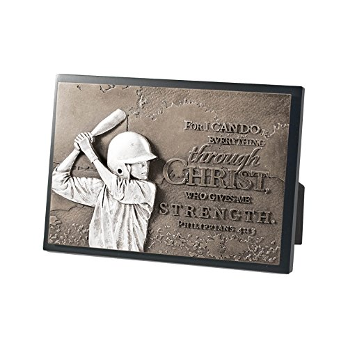 Lighthouse Christian Products Moments of Faith Baseball Rectangle Sculpture Plaque, 4 1/2 x 6 1/2