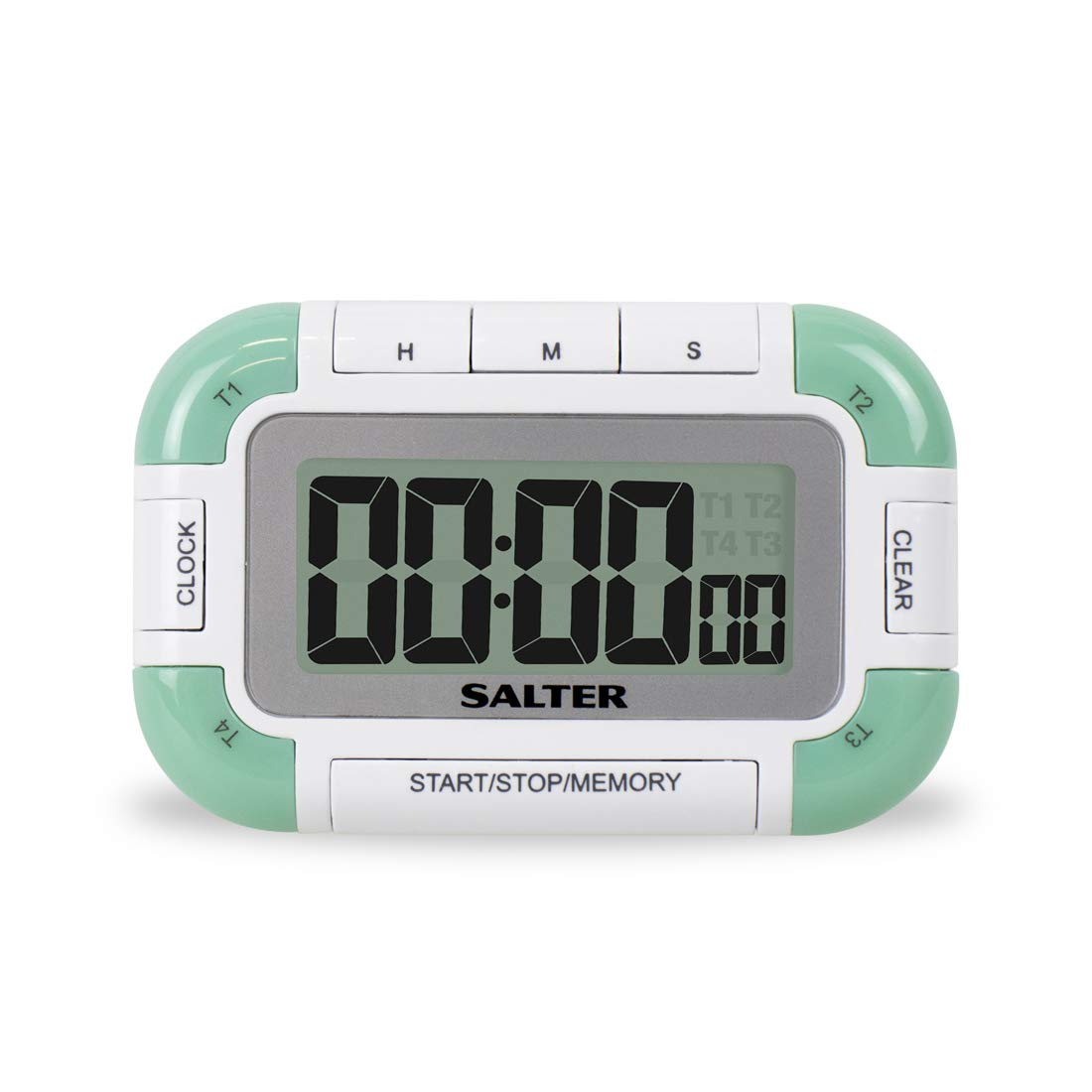 Salter 4 Way Digital Kitchen Timer – Electronic Cooking / Baking Stopwatch, 4 Timers with Individual Loud Beeps, Memory Function, Magnetic/Self Standing, Easy Read LCD, up to 99 hrs 59 min 59 sec