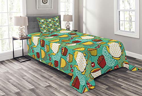 Lunarable Kitchen Bedspread Set Twin Size, Funky Tea Cup Cake Muffin Cherry Sweet Bakery British Lifestyle Graphic, Decorative Quilted 2 Piece Coverlet Set with Pillow Sham, Seafoam Yellow Red