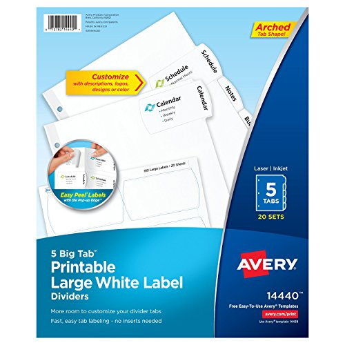 Avery Big Tab Printable Large White Label Dividers with Easy Peel, 5 Tabs, 20 Sets (14440) ()