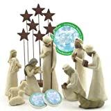 Willow Tree 10 Piece Starter Nativity Set By Susan Lordi with Go Green! Compressed Bamboo Towels