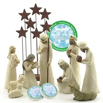 Willow Tree 10 Piece Starter Nativity Set By Susan Lordi with Go Green Compressed Bamboo Towels