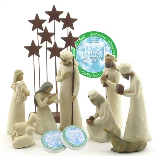 Willow Tree 10 Piece Starter Nativity Set By Susan Lordi with Go Green! Compressed Bamboo Towels by Willow Tree
