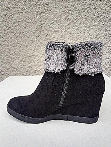 fashionfolie - Botas de Material Sintético para Mujer Negro Negro Precio bajo tarifa de envío para la venta nlWHqmR