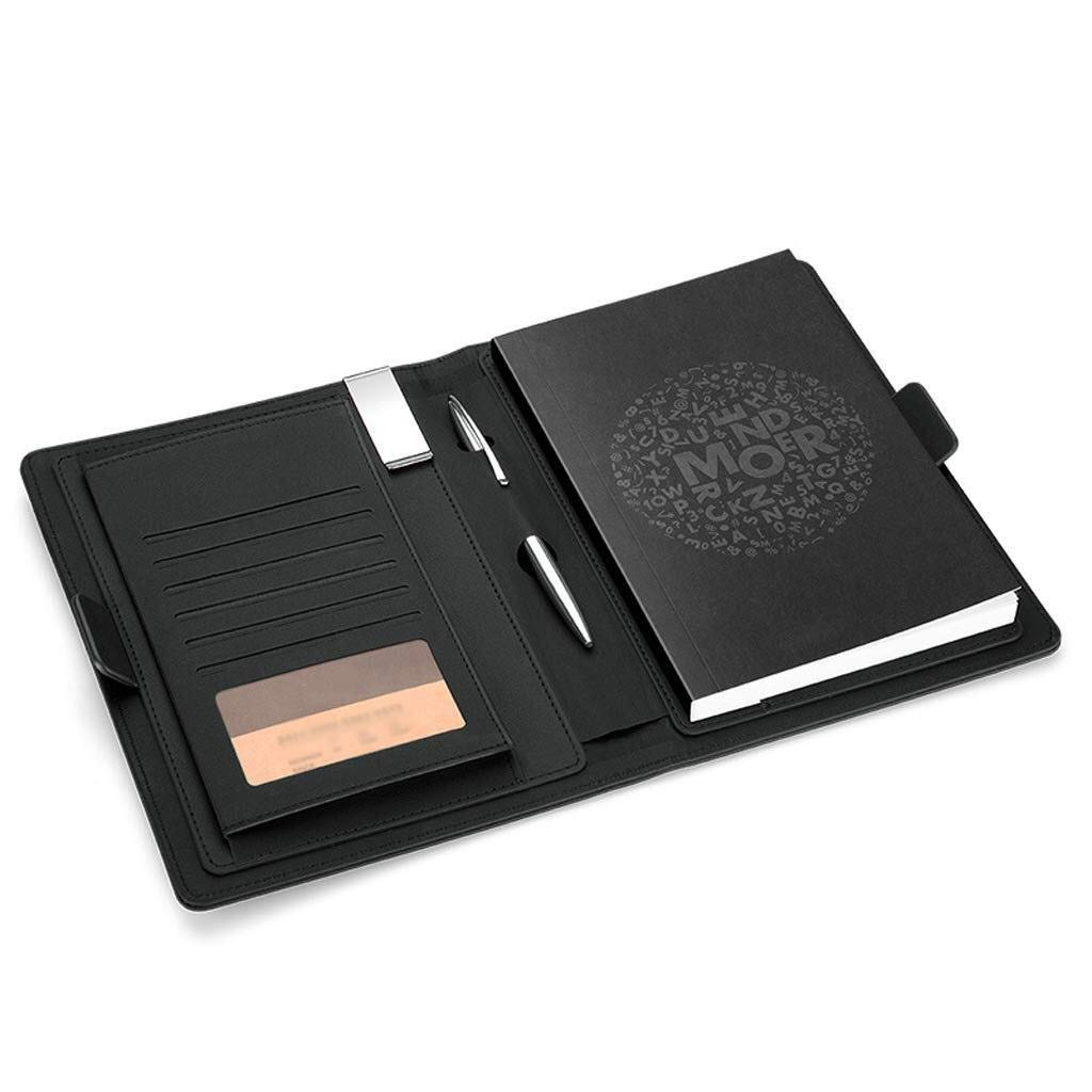 Loose-Leaf Spiral BindingJournal Notebook, PU Leather Business Notebook with Pen Holder and Card Slot (Color : Black)