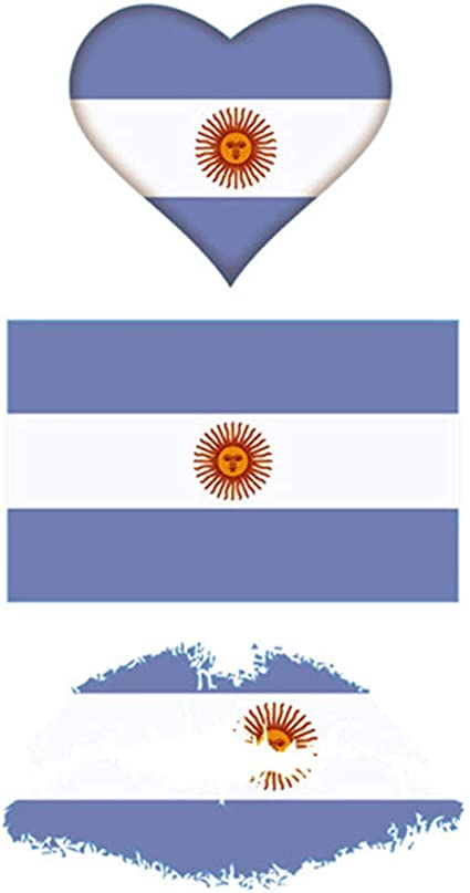 CARGEN® Bandera Argentina Tatuajes Temporales Para Juego De Pelota Bandera Nacional Etiqueta Para Partido De FúTbol Bandera Tatuajes En La Cara Del Brazo Para NiñOs Adultos Fiesta Festival: Amazon.es: Belleza