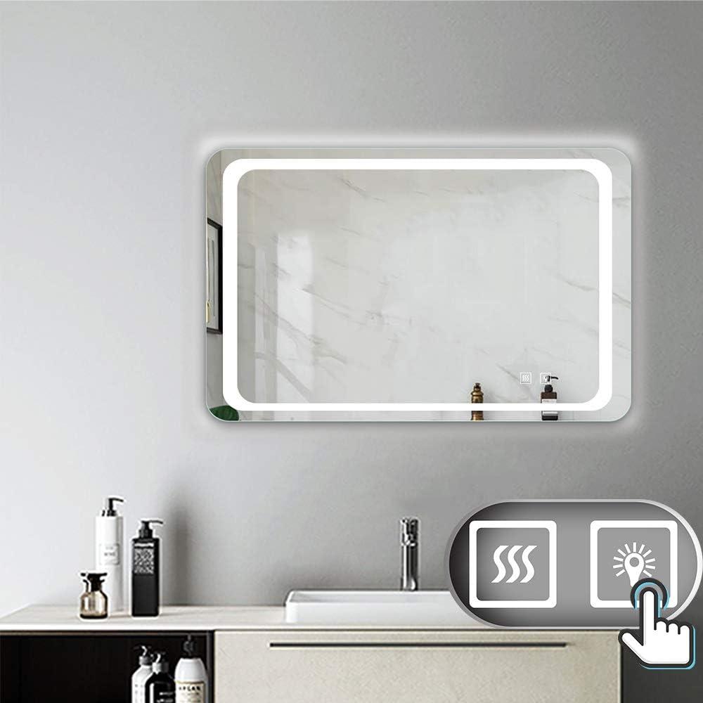Aicait 60x50cm Specchio per Trucco da Parete a Parete con Specchio a LED per Il Bagno a Parete a LED Nuovo Pulsante,Bianco Freddo,Anti-Appannamento Montaggio Orizzontale