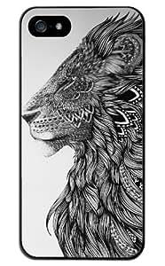 Season.C Tribal Lion Black White Totem Hard Back Case Cover for iPhone 5 5S
