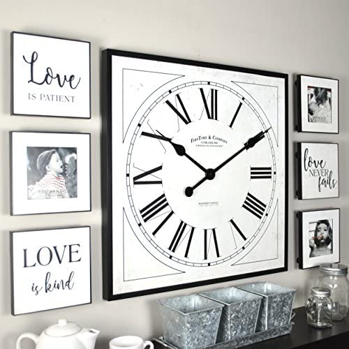 FirsTime Co. Love Frame Gallery Set Wall Clock, 20 6 Plaques, White