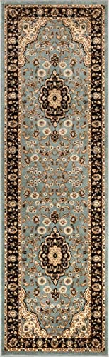 Noble Medallion Light Blue Persian Floral Oriental Formal Traditional Rug 3×10 2 7 x 9 6 Runner Easy to Clean Stain Fade Resistant Shed Free Modern Contemporary Soft Living Dining Room Rug