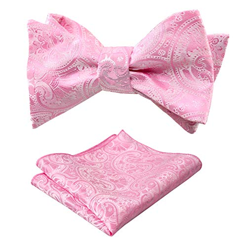 Alizeal Men's Paisley Jacquard Tuxedo Self Bow Tie with Hanky Set for Wedding Party ()