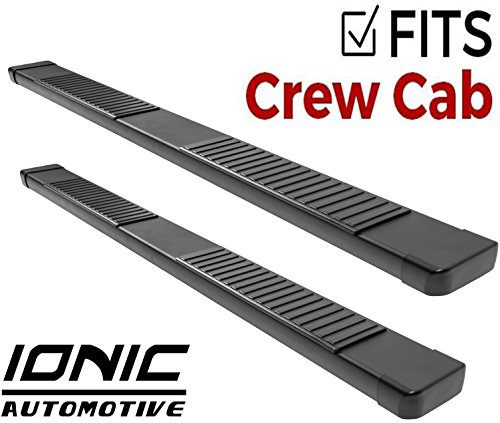 (Ionic 51 Series Black Running Boards 2011-2018 Chevy Silverado GMC Sierra Crew Cab 2500/3500 Diesel Engine)