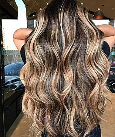 Ugeat 20Inch Front Lace Wig Balayage Ombre Dark Brown Fading to Brown with  Blonde Long Wigs Natural Looking Wavy Human Hair Lace Frontal Real Looking