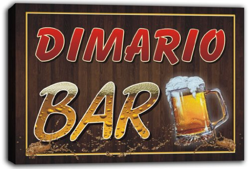 scw3-046626 DIMARIO Name Home Bar Pub Beer Mugs Stretched Canvas Print Sign