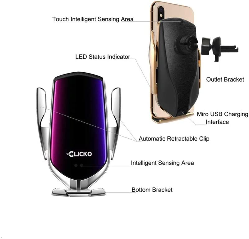 Silver Clicko Wireless Car Charger Automatic Clamping IR Intelligent Wireless Car Charger Mount Car Charger Holder 10W Fast Charging for iPhone Xs Max//XR//X//8//8Plus Samsung S10//S9//S8//Note 8