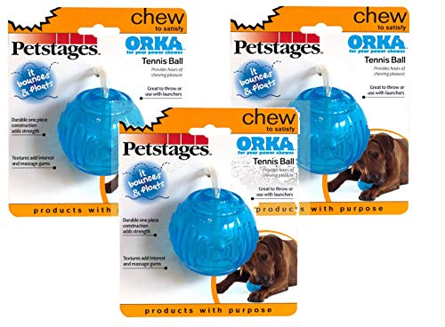 Orka Tennis Ball, Durable Rubber Fetch Toy for Aggressive Chewers, 3 Pack ()