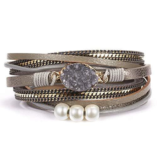 HOUBL Vintage 6 PCS Little Beads Beauty Head Coin Tassel Multi Layer Bracelet for Women Bohemian Elastic Beaded Bracelet Jewelry Gifts,17