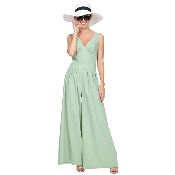 1940s Style Pants & Overalls- Wide Leg, High Waist  MANDY Pleated Jumpsuit Green $77.99 AT vintagedancer.com