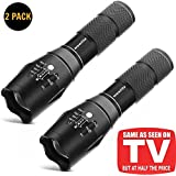 Tactical Flashlight,Wowlite 1600 LM Ultra Bright - CREE XML T6 LED Taclight As Seen On Tv with 5 Light Modes and Adjustable Focus for Emergency Camping Hiking(2 pack)