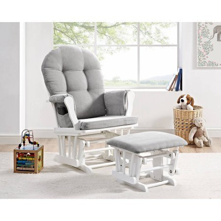 5124J3lvfNL - Angel Line Windsor Glider And Ottoman White Finish And Gray Cushions