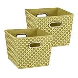 Household Essentials Medium Tapered Decorative Storage Bins, 2 Pack Set, Olive with White Diamonds