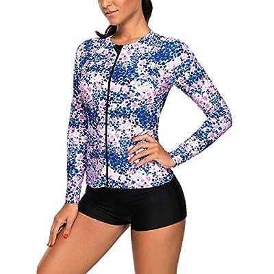 Actloe Women's Printed Long Sleeve Front Zipper Rashguard Swim Top No Bottoms: Clothing