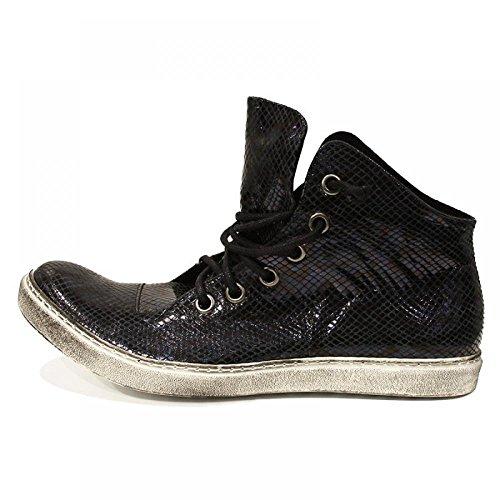 Modello Gaspare - Handmade Italiennes Black Chaussures - Cuir de vachette Cuir gaufré - Lacer