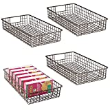 "metal cabinets kitchen mDesign Household Metal Wire Cabinet Organizer Storage Organizer Bins Baskets trays - for Kitchen Pantry Pantry Fridge, Closets, Garage Laundry Bathroom - 16"" x 9"" x 3"" - 4 Pack - Bronze"