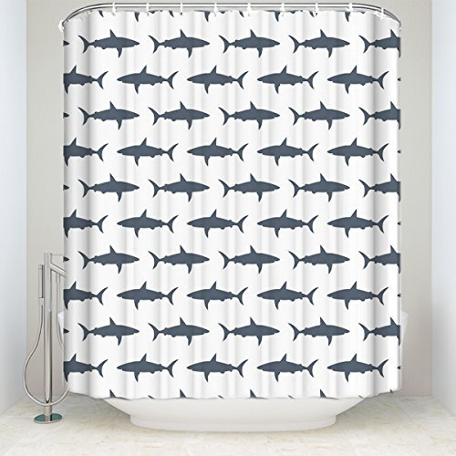 Fish shark,Waterproof Mildew Resistant Fabric Polyester Shower Curtain Liner with Hooks