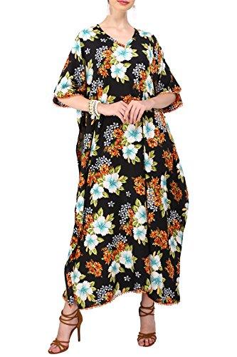 pour Loungewear Lavish 115119 Femmes Vacances Tous Tunique Kaftan les London Plus amp; 124 de Miss Style Taille Maxi Vtement Kimono Robes Noir nuit jours wvfFqvP