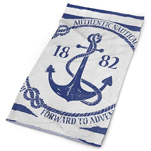 Anchor White Cap Chain (Qijrfjgng Magic Scarf Blue White Nautical Anchor On Striped Neck Headwear Headband Headwrap)