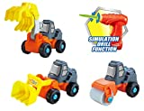 3-in-1 Construction Take-A-Part Toy Truck for Kids with 27 Take Apart Pieces and Power Tool Drill (Bulldozer + Excavator + Roller)
