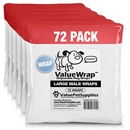 ValueWrap Disposable Male Dog Diapers, 2-Tab Large, 72 Count - Absorbent Male Wraps for Incontinence, Excitable Urination & Travel | Fur-Friendly Fasteners | Leak Protection | Wetness Indicator