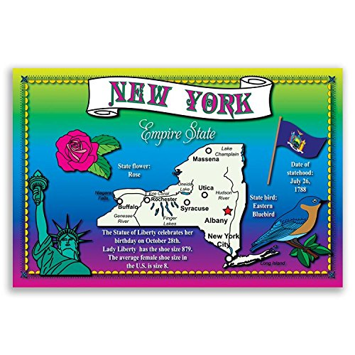 NEW YORK STATE MAP postcard set of 20 identical postcards. Post cards with NY map and state symbols. Made in ()